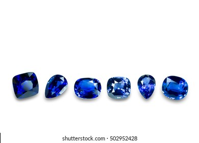 Blue sapphire set  isolated on white background