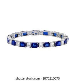 Blue Sapphire and White Diamonds Tennis Bracelet crafted in White Gold