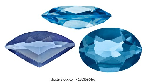 blue sapphires isolated on white background