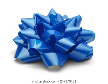 Blue Satin Bow Side View Isolated on White Background.