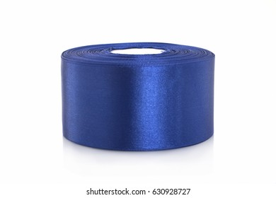 Blue satin ribbon for sewing and needlework on a white background