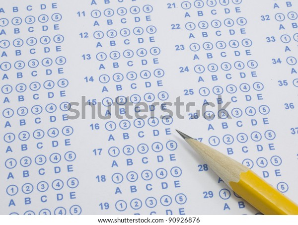photo relating to Free Printable Scantron Bubble Sheet referred to as Blue Scantron Bubble Consider Sheet Well prepared Inventory Picture (Edit Already
