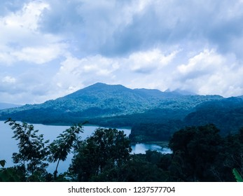 Blue Scene Cloudy Sky Above Mountains Lake Buyan At Wanagiri Village, North Bali, Indonesia