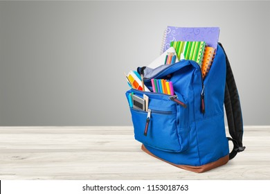 Blue School Backpack on background