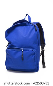 Blue school backpack open