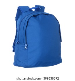 Blue school bag isolated on white