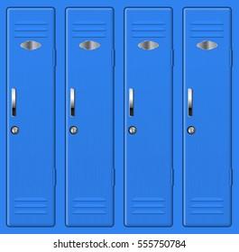 Blue school lockers. 3d illustration. Raster version.