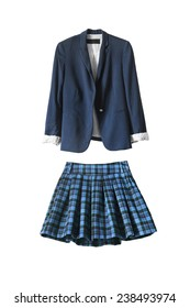 Blue school uniform jacket and skirt on white background