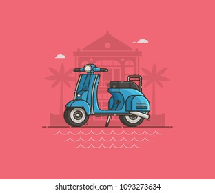 Blue scooter parked near villa and sea beach. Motor bike on road illustration. Motorcycle standing on tropical seaside background. Retro motorbike in flat design. Summer travel concept.