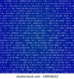 Blue screen of death computer binary code  background