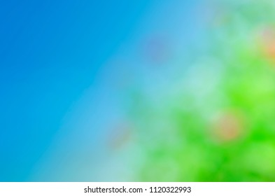 Blue screen with green lights bokeh backgrounds