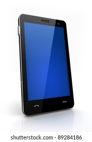 Blue screen mobile phone isolated