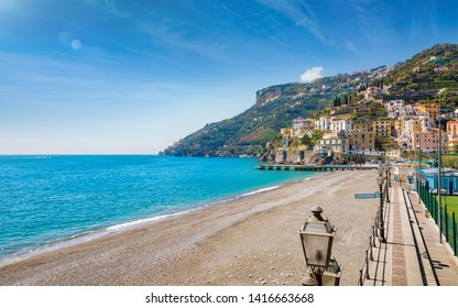 Blue sea and beach in Minori, attractive seaside town at centre of Amalfi Coast, province of Salerno, in Campania region of south-western Italy.