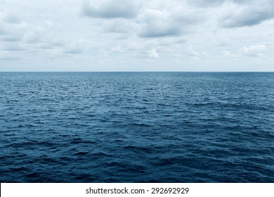 blue sea and cloudy sky waves in Atlantic Ocean