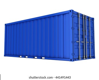 Blue sea container. 3d illustration. Isolated on white