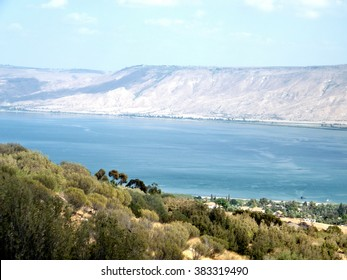 Blue Sea of Galilee against the background of the Golan Heights in Israel