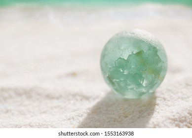 blue sea glass  marble with white sand beach and seascape
