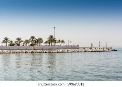 Blue sea and green date palm trees in the corniche park in Dammam, Saudi Arabia