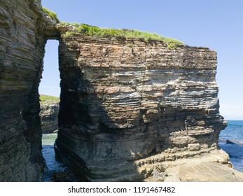blue sea horizon with rocks landscape