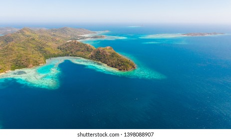 Blue sea and many islands.Ridge of islands in the ocean aerial view.Philippines, Palawan