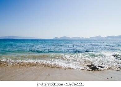 Blue sea in Melide beach, Pontevedra, Spain