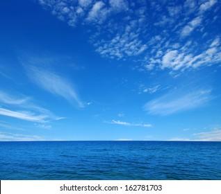 Blue sea  on sky