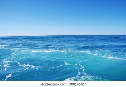 Blue sea and blue sky  background