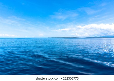 blue sea blue sky horizon
