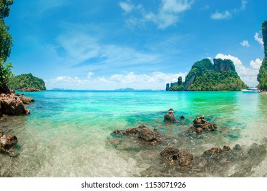 Blue sea, blue sky and paradise tropical beach. Vacation holidays background wallpaper