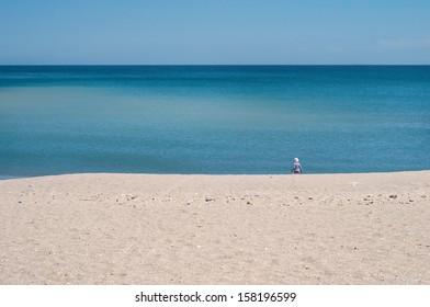 Blue sea, sky and sand