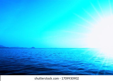 blue sea and  sky at sunrise  abstract nature background