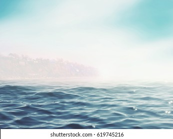 Blue sea with sun in the morning
