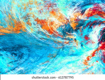 Blue sea wave. Artistic splashes of bright paints. Abstract color background for wallpaper, interior, album, flyer cover, poster, booklet. Fractal artwork for creative graphic design
