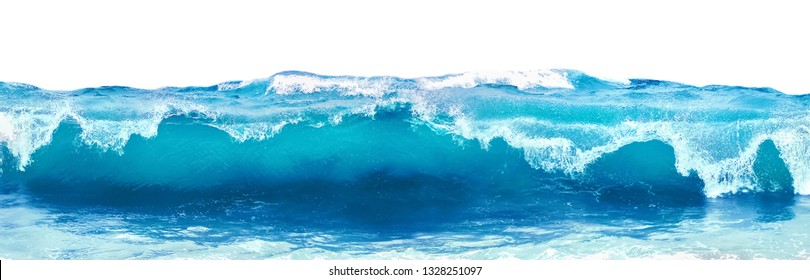 Blue sea wave with white foam isolated on white background. - Shutterstock ID 1328251097