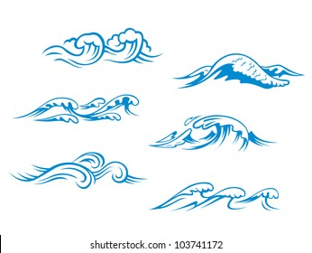 Blue sea waves set for design in cartoon style, such logo. Vector version also available in gallery