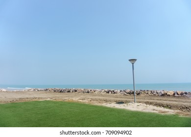 Blue sea with wind waves in summer.Beautiful sky with copy space.