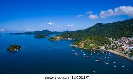 Blue sea and wonderful landscapes, Angra dos Reis, Rio de Janeiro state Brazil South America  - Shutterstock ID 1135581197