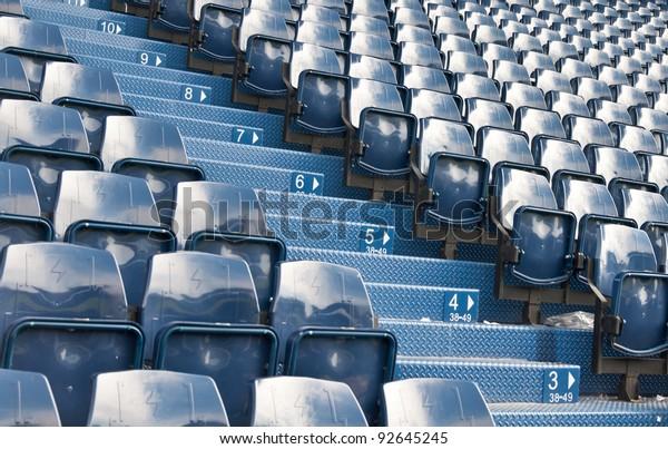blue seat at football  Stadium.