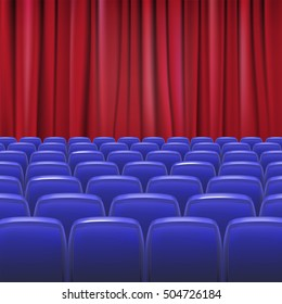 Blue seats in hall with curtain, 3D illustration for your design