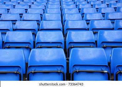 Blue seats in row on stadium