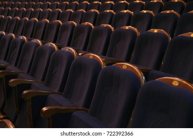 Blue seats at the theater. Comfort seat. Rows of blue seats in the auditorium. Theater, cinema or circus.