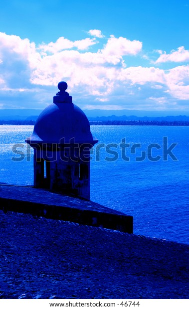 Blue Sentry Box at Fort El Morro San Juan Puerto Rico