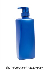 Blue shampoo or lotion bottle with pump