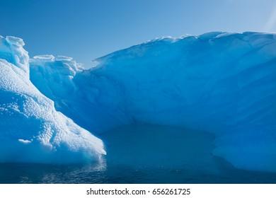 Blue shimmering beautiful iceberg in Antarctica
