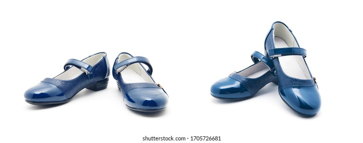 Blue shine leather girl shoes isolated on white
