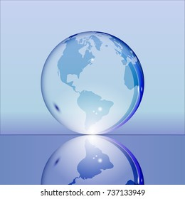Blue shining transparent earth globe with South and North America continents laying on glass surface and reflecting in it. Bright and shining design. illustration.
