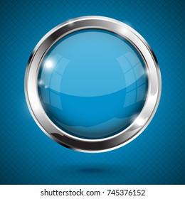 Blue shiny button. Round glass web icon. 3d illustration on blue background. Raster version
