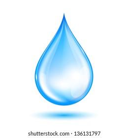 Blue shiny water drop.