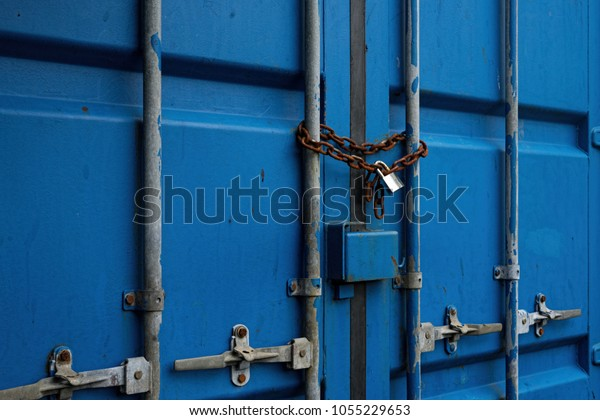 Blue Shipping Container Door Rusty Chain Stock Photo (Edit Now