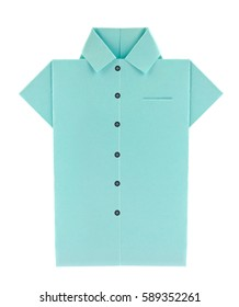 Blue shirt with buttons of origami. Isolated on white background